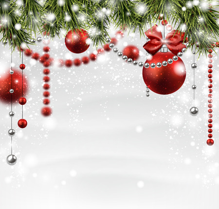 Winter background with spruce twigs and red baubles. Christmas vector illustration. Eps10. Vector