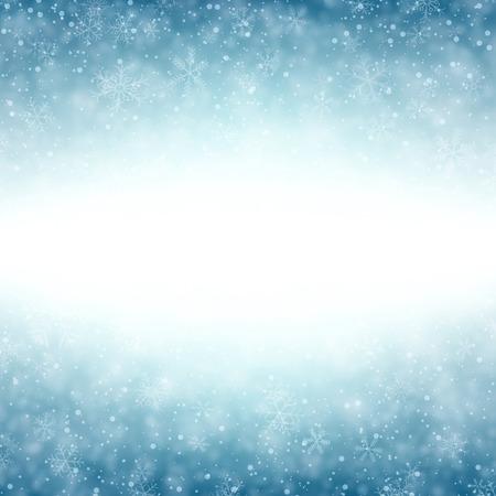 Blauwe winter abstracte achtergrond. Kerst achtergrond met sneeuwvlokken. Vector. Stock Illustratie