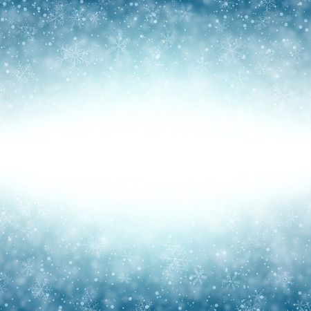 Blue winter abstract background. Christmas background with snowflakes. Vector. Vectores
