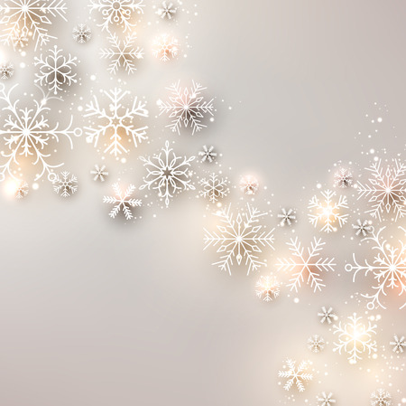 Winter background. Glowing snowflakes. Christmas. Vector. Ilustrace