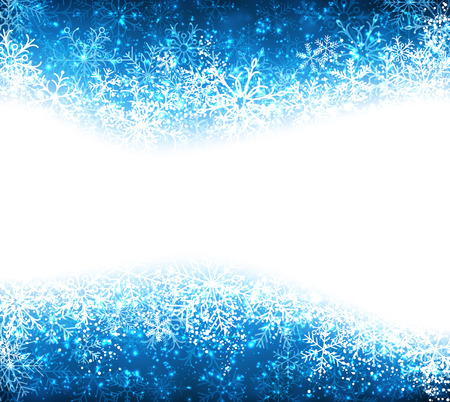 Blue winter abstract background. Christmas background with snowflakes. Vector. Vector