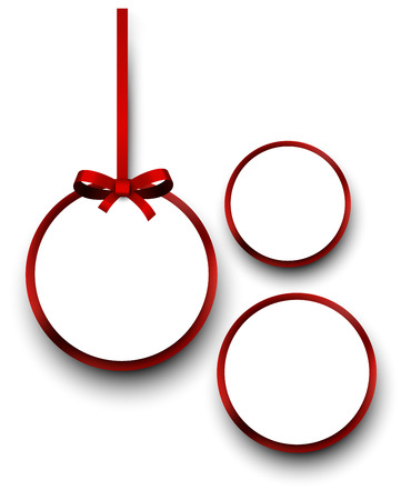 satin round: Christmas round gift cards with red ribbons and satin bows. Vector illustration.