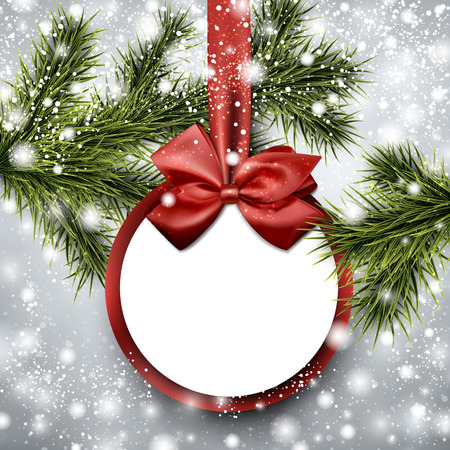christmas ball: Christmas paper card. Winter background with spruce twigs. Vector illustration.