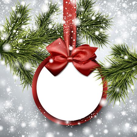 Kerst papieren kaart. Winter achtergrond met vuren twijgen. Vector illustratie. Stock Illustratie