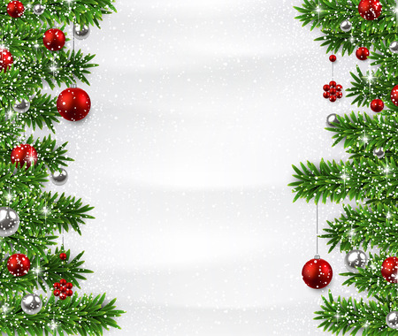 Winter background with spruce twigs and red baubles. Christmas vector frame.  Vector