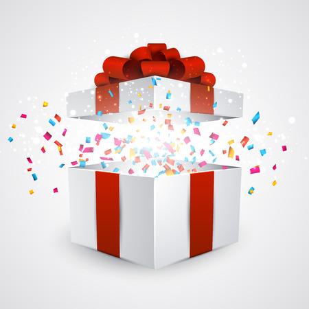 sorpresa: Abri� la caja de regalo 3D realista con lazo rojo y confeti. Ilustraci�n del vector.