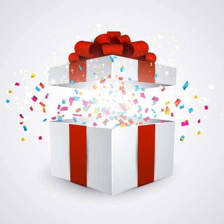 Opened 3d realistic gift box with red bow and confetti. Vector illustration. Ilustracja