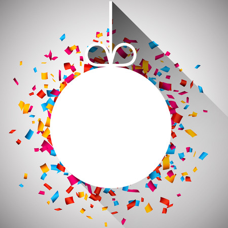 carnival background: Christmas paper ball over colorful confetti. Vector background.