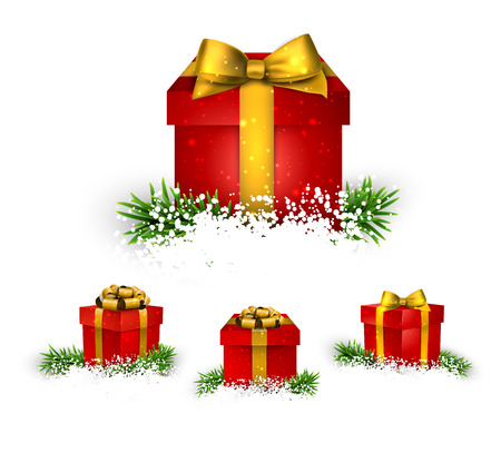 Collection of 3d christmas gift red boxes with satin golden bows. Realistic vector illustration. Vector
