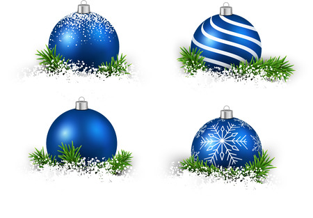 christmas decorations: Colorful set of blue realistic christmas balls on snow with fir branches. Vector illustration. Illustration