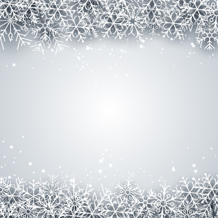 Light winter abstract background. Christmas background with paper snowflakes. Vector. Vector