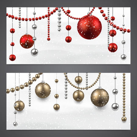 Abstract banners with christmas baubles. Vector illustration. Vector