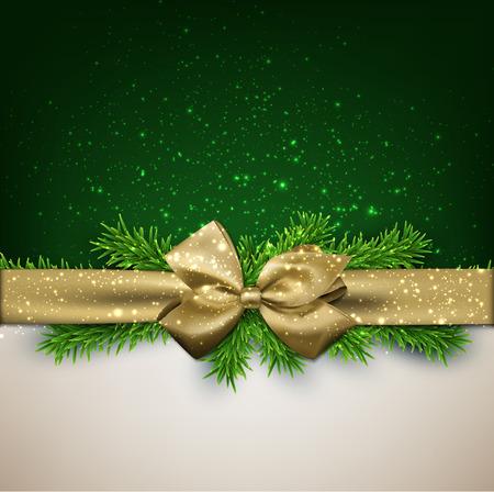 Winter achtergrond met crystallic sneeuwvlokken met gouden geschenk boog. De spar van Kerstmis decoratie. Vector.