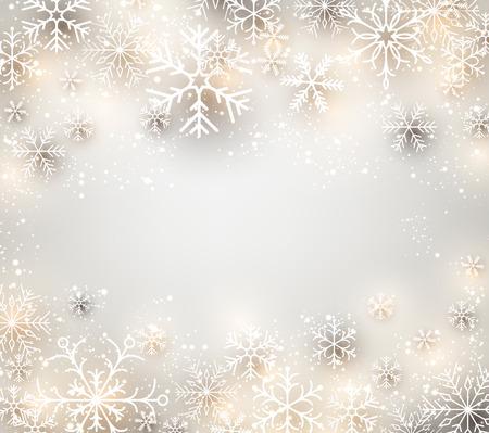 marcos redondos: Fondo de invierno. Glowing copos de nieve. Navidad. Marco del vector.