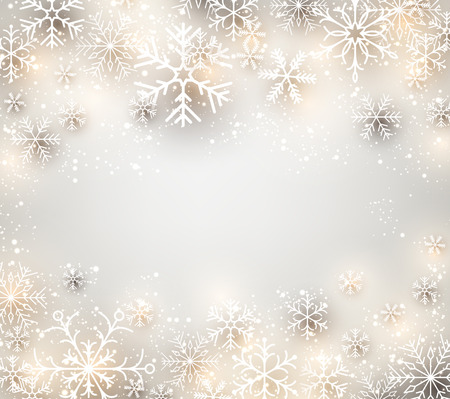 grey background texture: Winter background. Glowing snowflakes. Christmas. Vector frame.