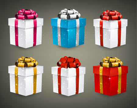 ribbon: Collection of 3d closed gift boxes with satin bows. Realistic vector illustration. Illustration