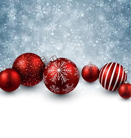 Winter background. Fallen defocused snowflakes. Christmas red balls. Vector.