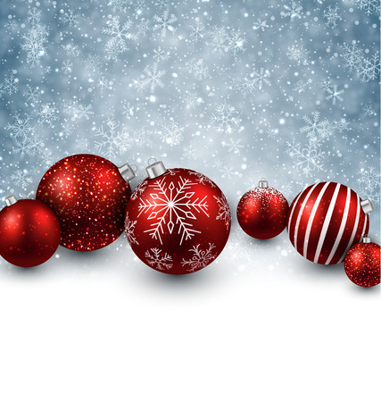 christmas bubbles: Winter background. Fallen defocused snowflakes. Christmas red balls. Vector.