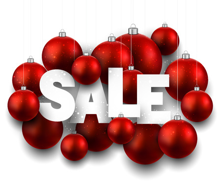 White sale sign with red christmas baubles. Vector holiday illustration. Illustration