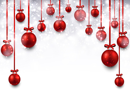 Abstract arc background with red christmas balls. Vector illustration. Vector