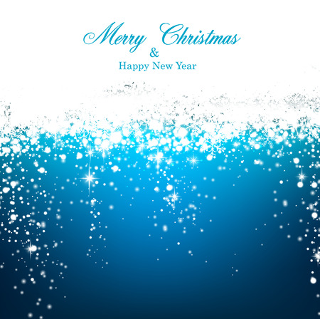 Blue winter abstract background. Christmas background with snowflakes and sparkles.  Vector