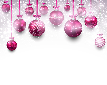 Abstract arc background with magenta christmas balls.  Vector