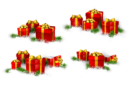 Christmas background with heaps of fir branches and realistic gift boxes. Vector
