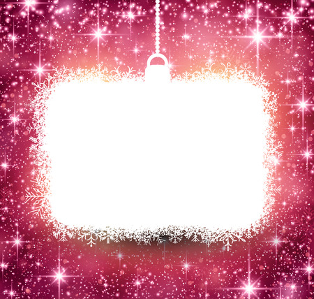 bright lights: Christmas paper frame on pink winter abstract background. Vector illustration with snowflakes and sparkles. Illustration