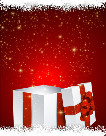 Opened 3d realistic gift box over red christmas background. Vector