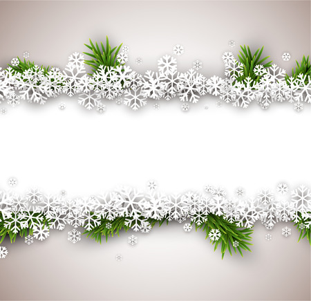 green frame: Light winter abstract background. Christmas illustration with snow and fir branches.