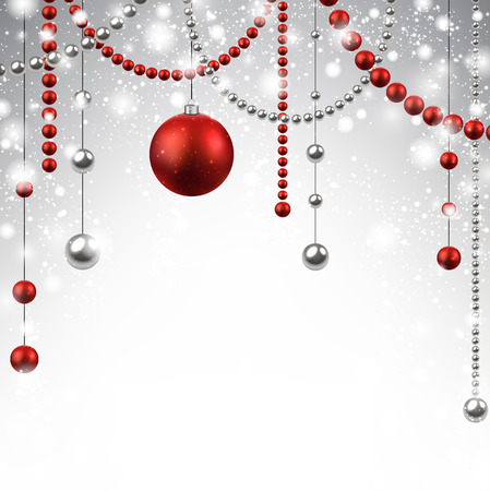 Abstract background with red christmas baubles.  Vector