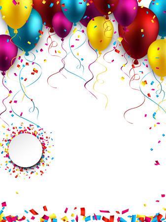 Balonlar ve konfeti kutlama renkli arka plan.
