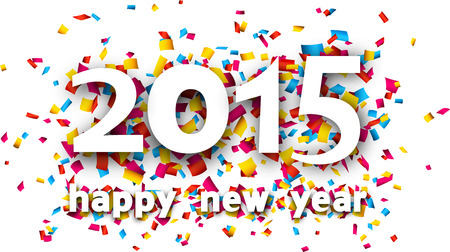 Happy 2015 new year word with confetti.  Vector