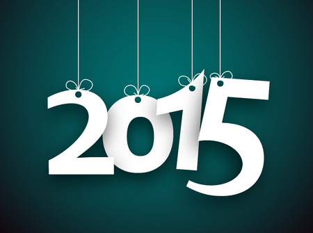 Happy 2015 new year word hanging on threads. Vector