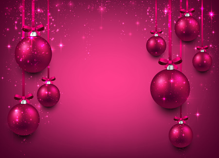 Abstract background with magenta christmas balls. Vector