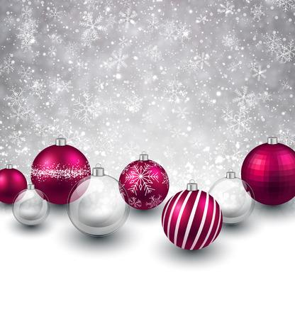 Winter background. Fallen refocused snowflakes. Christmas magenta balls. Vector
