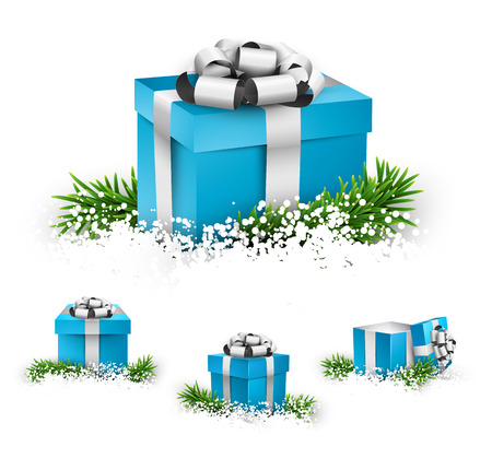 Collection of 3d christmas gift blue boxes with satin silver bows. Realistic illustration. Vector