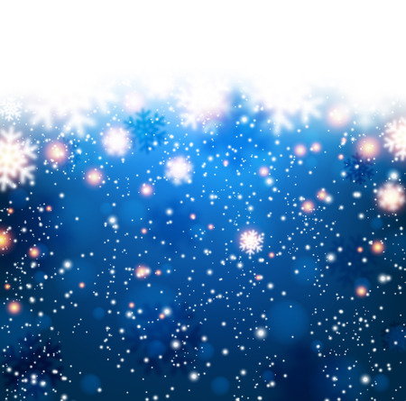 Winter blue background. Fallen refocused snowflakes. Christmas. Vector