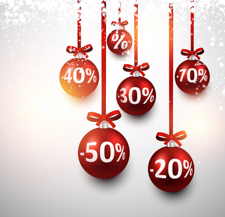 Set of red sale christmas balls background. Vector