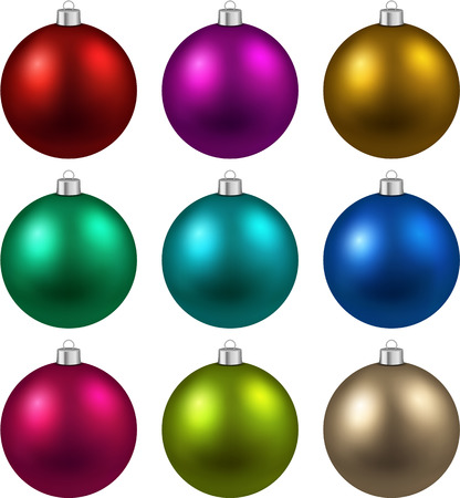 Colorful christmas balls. Set of isolated realistic decorations.  Vector