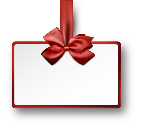 decorative card symbols: Christmas rectangle gift card with red satin bow.
