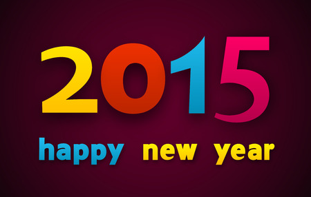 Happy 2015 new year colorful word. paper illustration. Vector