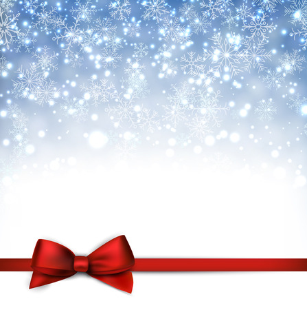 Winter blue background with crystallic snowflakes with ribbon and gift bow. Christmas decoration. Vector. Vector