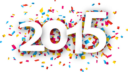 Happy 2015 new year word with confetti. Vector paper illustration. Vector