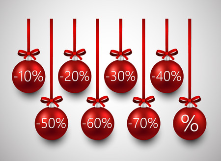 Set of red sale christmas balls. Vector illustration. Vector