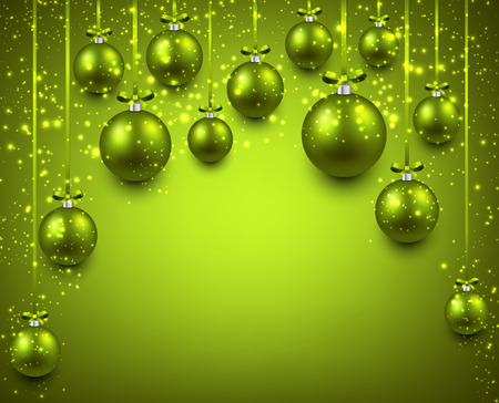 Abstract arc background with green christmas balls. Vector illustration. Vector
