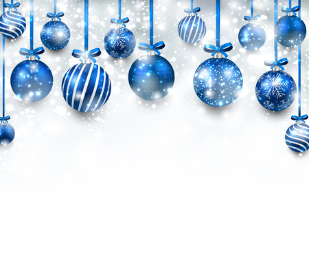 Abstract arc background with blue christmas balls. Vector