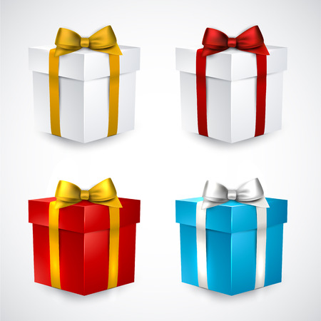 Collection of 3d closed gift boxes with satin bows. Vector
