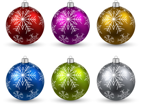Colorful christmas balls on white surface. Vector
