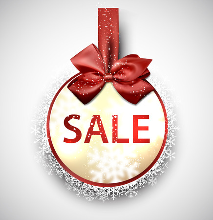 Sale and discount paper label with red bow and ribbon. Vector